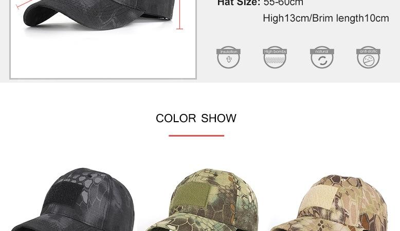 17 Colors Camo Men's gorras Baseball Cap Male Bone Masculino Dad Hat Trucker New Tactical Men's Cap Camouflage Snapback Hat 2020 3