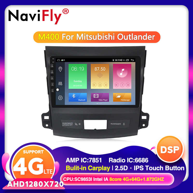 Android 10.0 4G + 64G Mobil Radio Multimedia Player Gps Navigasi untuk Mitsubishi Outlander XL 2 2005-2011 2din 2 DIN Head Unit Wifi