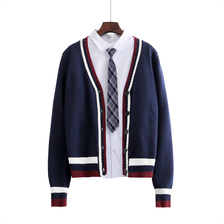 British Institute Striped Sweater Coat Loose Large Size Sweater Boys And Girls School Uniforms JK Men & Women Knitting Outerwear