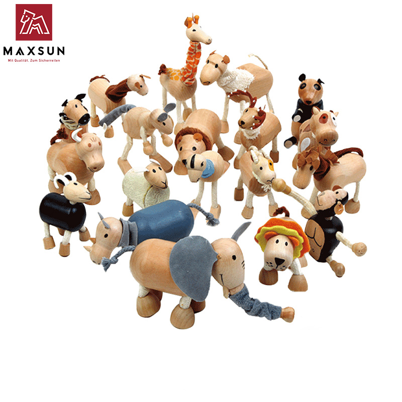 Environmental Protection Solid Wood Animal Dolls Simulated Articular Animal Model Children's Wooden Toys 3 Pcs  Shipping