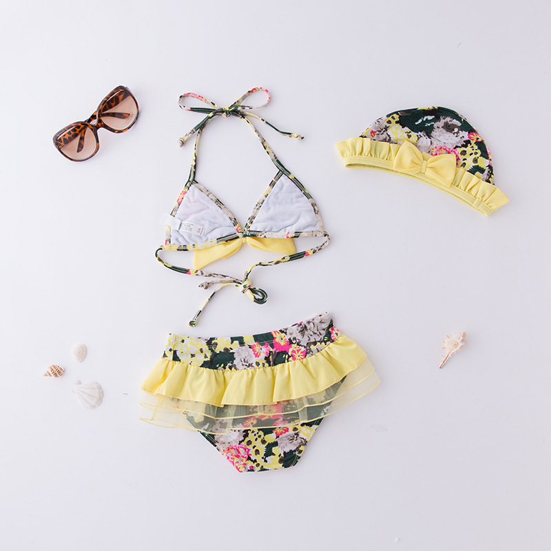 Girls' Two-piece Swimsuit Yellow Flower Yarn Sideband Hat-KID'S Swimwear Hot Springs Clothing
