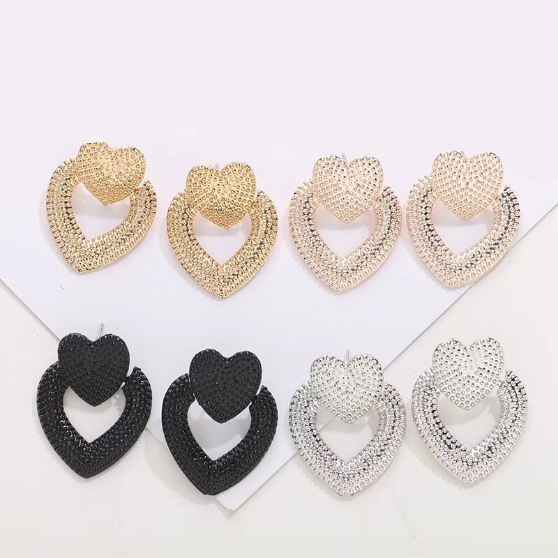 Ufavoirte NEW trend 2019 Vintage Earrings for women gold color Geometric statement heart metal earing Hanging fashion jewelry