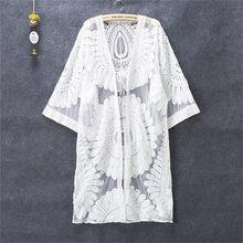 Robe de plage en dentelle pour femme, dentelle ajourée au crochet, avec manches 3/4, Cover-Up pour maillots de bain, couleur blanc, nouvelle collection