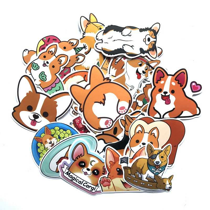 Corgi Dog Stickers Funny Kawaii Sticker Laptop Skateboard Suitcase Diary Sticker Pack Waterproof Stickers Toy for children