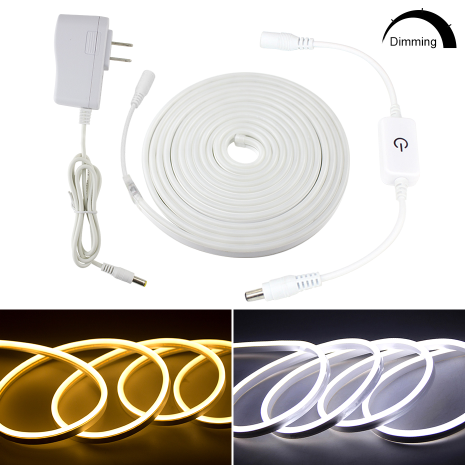 Waterproof Outdoor&Indoor LED Lighting Touch Dimmable LED Neon Light Flex 12V 2835 120leds/m LED Strip Rope Light With Adapter|LED Strips| |  - title=