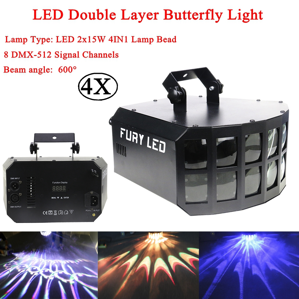 4Pcs/Lot Mini LED Beam 2x15W RGBW 4IN1 Double Butterfly Light LED Stage Light Good For Parties DJ Disco Wedding Decoration