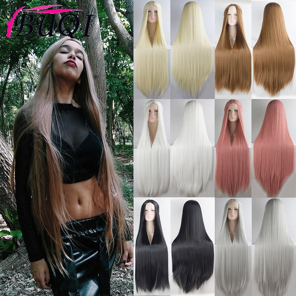Parrucche sintetiche lunghe dritte BUQI per donna parrucca Cosplay Anime 100cm nero viola nero rosso rosa blu capelli castani scuri
