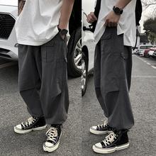 Мужчины дышащий щиколотка галстук шнурок мульти карманы свободные брюки карго брюки