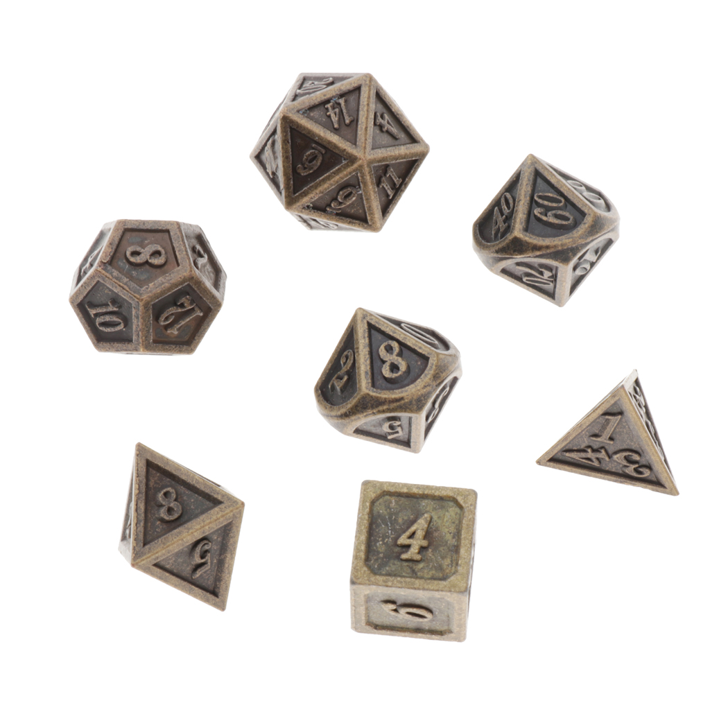 7 Lot Polyhedral Dice Standard Size Bronze For Dragon Scale DnD Pathfinder