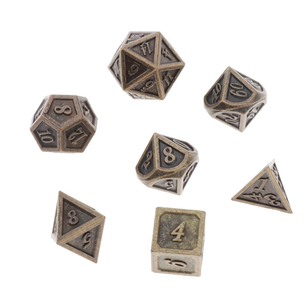 Lote de dados poliédricos de bronce, tamaño estándar, para escala de dragón, DnD Pathfinder, 7 unidades