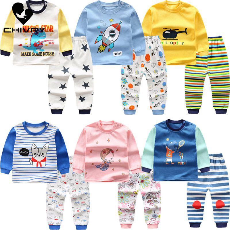 Toddler Kids Baby Boys Girls Rocket Cartoon Print Pajamas Sleepwear Tops Pants Outfits Set