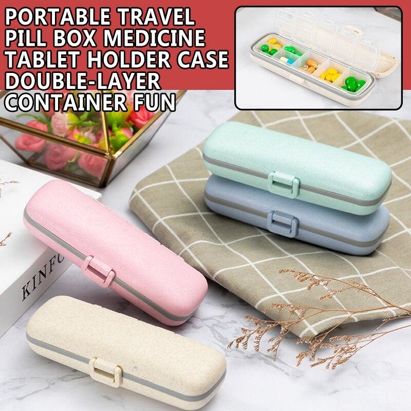 Portable Travel Pill Box Medicine Tablet Holder Case Double-Layer Container Dispenser Medicine Storage Organizer