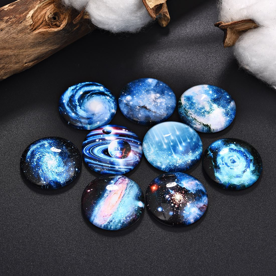 50Pcs Starry Sky Pattern Flat Glass Cabochons Cameo Jewelry Making Fit 12mm 20mm 25mm Blank Base Setting Earrings Necklace DIY