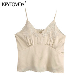 KPYTOMOA Women 2020 Fashion Floral Embroidery Cozy Blouses Vintage V Neck Backless Thin Straps Female Shirts Blusas Chic Tops