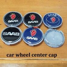 4pcs/lot 56/ 60/ 63/65/ 68 mm SAAB 9-3 9-5 9-2x 9-5x Car Wheel Center Hub Cap Badge Emblem Wheel Dust-proof covers logo Stickers
