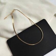 Moda jóias gargantilha colar estilo popular metal brilhante chapeamento dourado uma única camada corrente colar para presentes da menina das mulheres