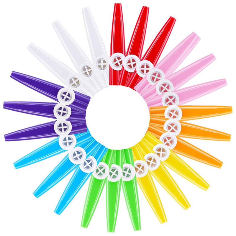 Dropship-24 Pieces Plastic Kazoos 8 Colorful Kazoo Musical Instrument, Good Companion For Guitar, Ukulele, Violin, Piano Keyboar