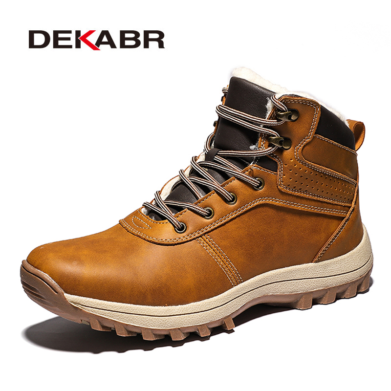 DEKABR Winter Warm Men Boots Genuine Leather Fur Plus Men Snow Boots Handmade Waterproof Working Ankle Boots High Top Men Shoes image
