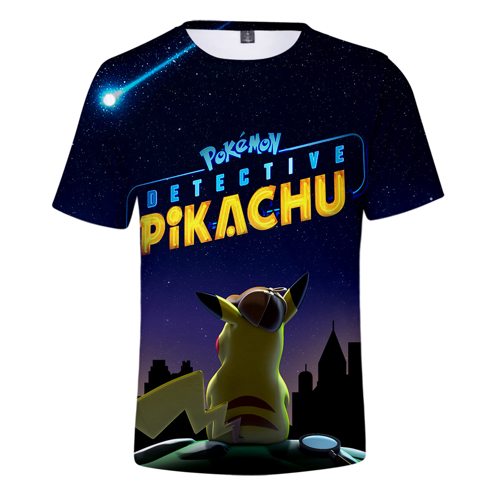 Pokemon <font><b>Detective</b></font> <font><b>Pikachu</b></font> <font><b>tshirt</b></font> 3D Men Summer Harajuku T-shirt Sweatshirts Hot Games pokemon 3D T-shirt plus size image