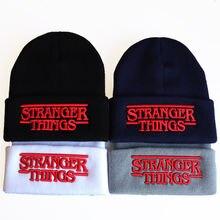 Вязанная теплая шапка с вышивкой «очень странные дела» для фанатов