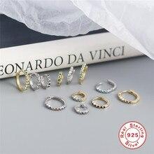 Boucle d'oreille colorée en argent Sterling 925 pour femme, anneau de Cartilage en Zircon pavé, bijoux pour Piercing, 6mm, 8mm, 10mm