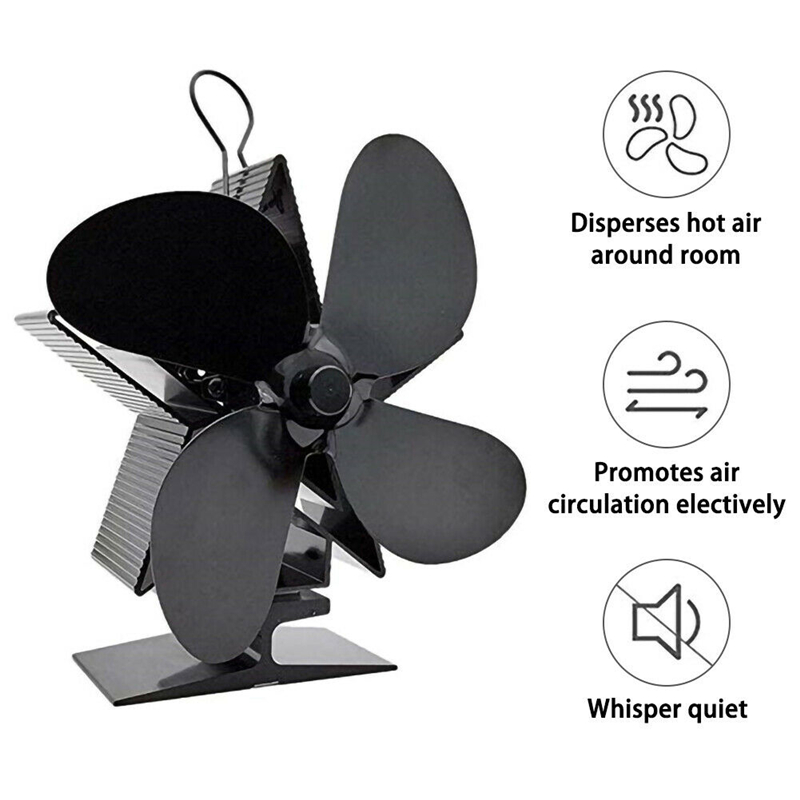 Fireplace 4 Blade Heat Powered Stove Fan Wood Burner Eco Friendly Quiet Fan Home Efficient Heat Distribution 4Colors Optional