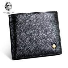 LAORENTOU Men Genuine Leather Wallet Male Soft Cowhide Coin Purse Standard Short Wallets for Man Wallets Card Holders