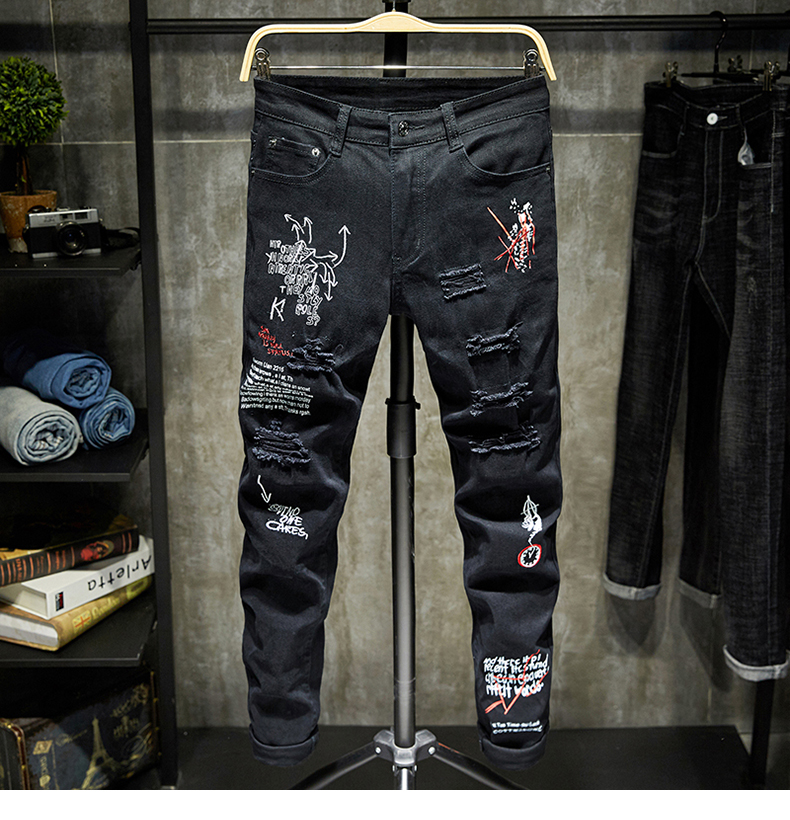Black Jeans Men Slim Fit Ripped Destroyed Embroidered Letters Streetwear Motorcycle Jeans Man