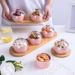 Ceramiczna miska do mieszania talerz sałatkowy z szklana pokrywa kreatywna taca drewniana ceramiczne zastawy stołowe zestaw domowy przekąska suszone ciasto owocowe płyta