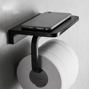 Image 4 - Черная краска, двойной бумажный держатель, настенные аксессуары для ванной комнаты, подставка для телефона, туалет, полка, пространство, алюминиевый материал