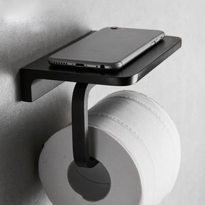Image 4 - Pintura preta dupla suporte de papel fixado na parede acessórios do banheiro telefone rack prateleira do banheiro espaço material alumínio