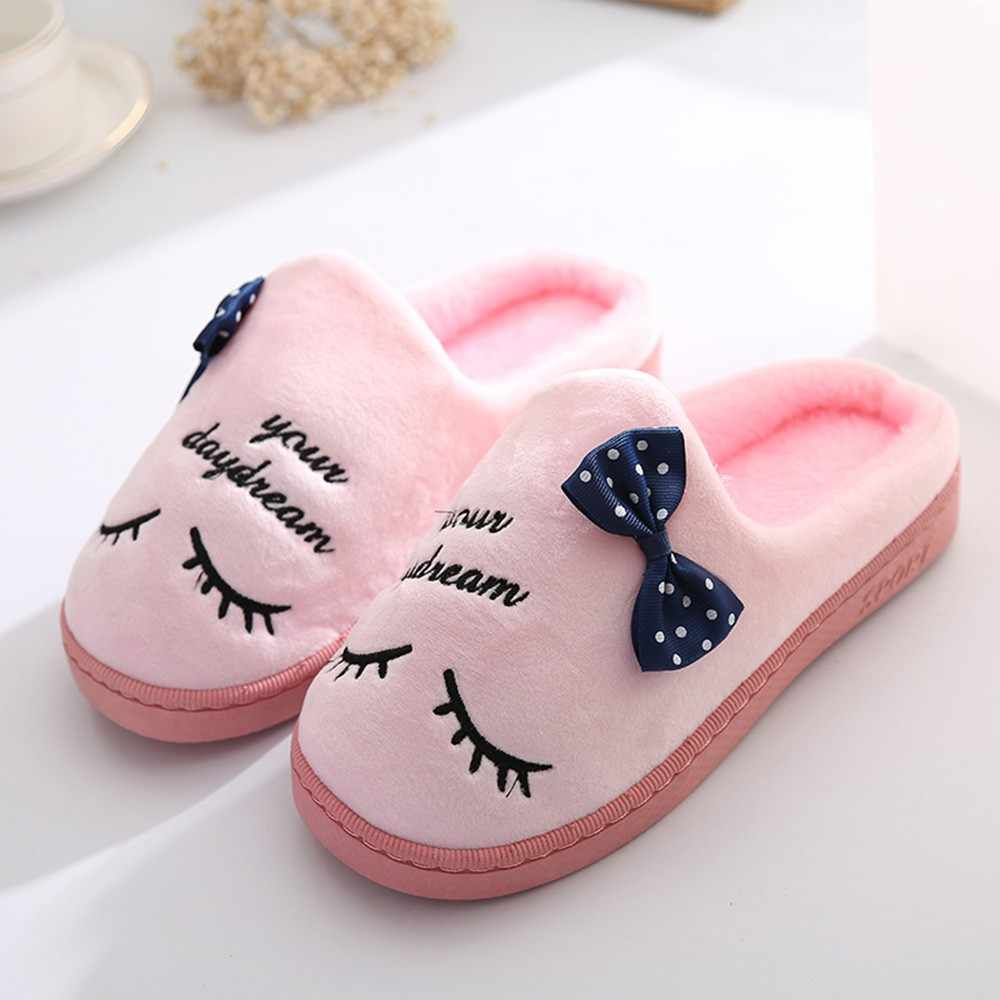 Women Winter Indoor Slippers Warm Flat Shoes Plush Soft Home Slippers Indoors Anti-slip Floor Flip Flops Shoes Pantoufle Femme
