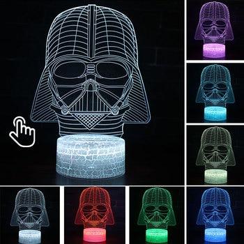 Star Wars Darth Vader Anime Figure Acrylic 3D Illusion LED Lamp Colourful NightLight Death Star Mask Yoda Model Toys Child Gift 24