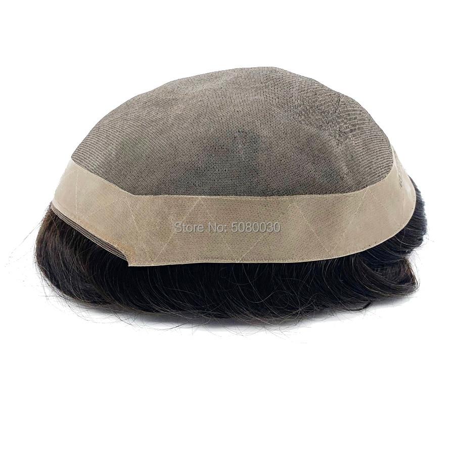 Top Quality 100% Human Hair Toupee Mono Lace NPU Poly Coating Around Indian Human Hair Toupee