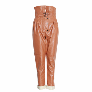 Image 5 - TWOTWINSTYLE PU Leather High Street Style Womens Pants High Waist Ruched Asymmetrical Trousers Female Fashion Clothing 2020 New