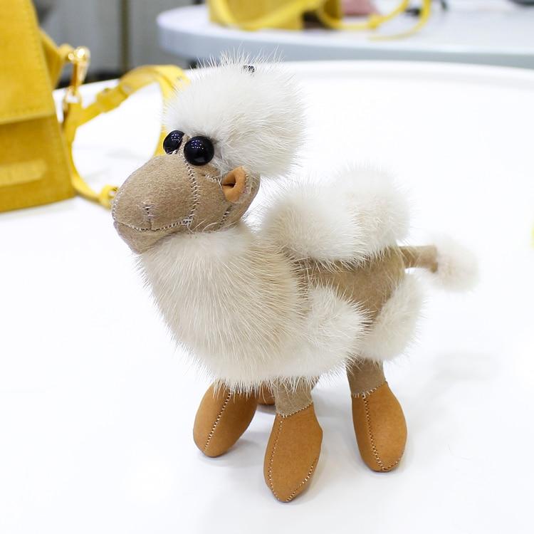 Mink fur camel doll pendant car key chain cute bag pendant