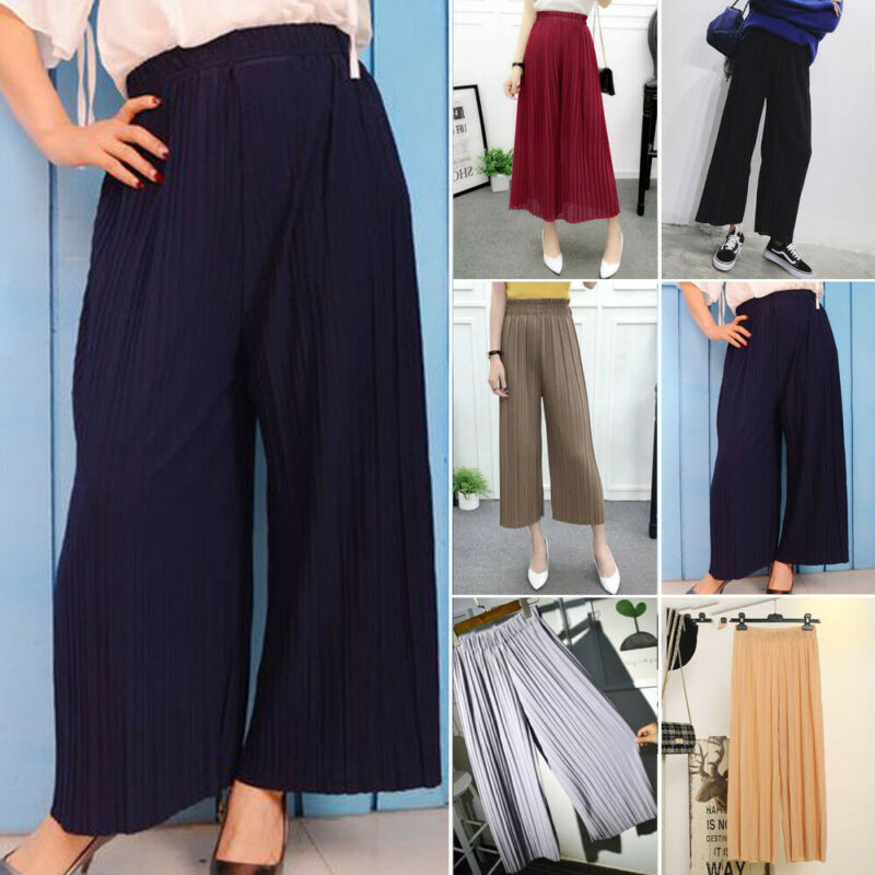 Summer Women Solid Pleated Chiffon & Flax Elastic   Wide     Leg     Pants   High Waist Casual Loose Culottes Trousers Holiday