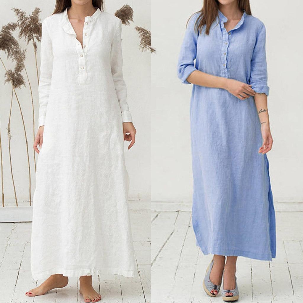Womens Midi Bohemian Dress Ethnic Style Cotton Linen Turn-Down Collar Dress Plus Size S-5XL 3//4 Sleeve Pocket Button Dress