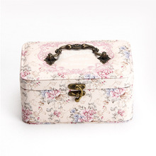 Double-layer Multi-function Jewelry Box PU Leather Printing Large Capacity Ring Necklace Bracelet Cosmetic Portable Storage Box