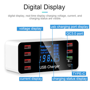 Image 3 - GOOJODOQ 8 Port USB Type C Charger Smart LED Display Quick Charge 3.0 USB Fast Charging Adapter 40W with Smart IC Travel Charger