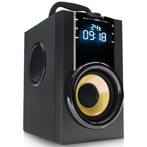 Image 2 - 2200mAh 4.2 무선 블루투스 스피커 야외 LED 디스플레이 3D 서라운드 스테레오 서브 우퍼 플레이어 라디오 알람 시계 TF FM AUX 카드