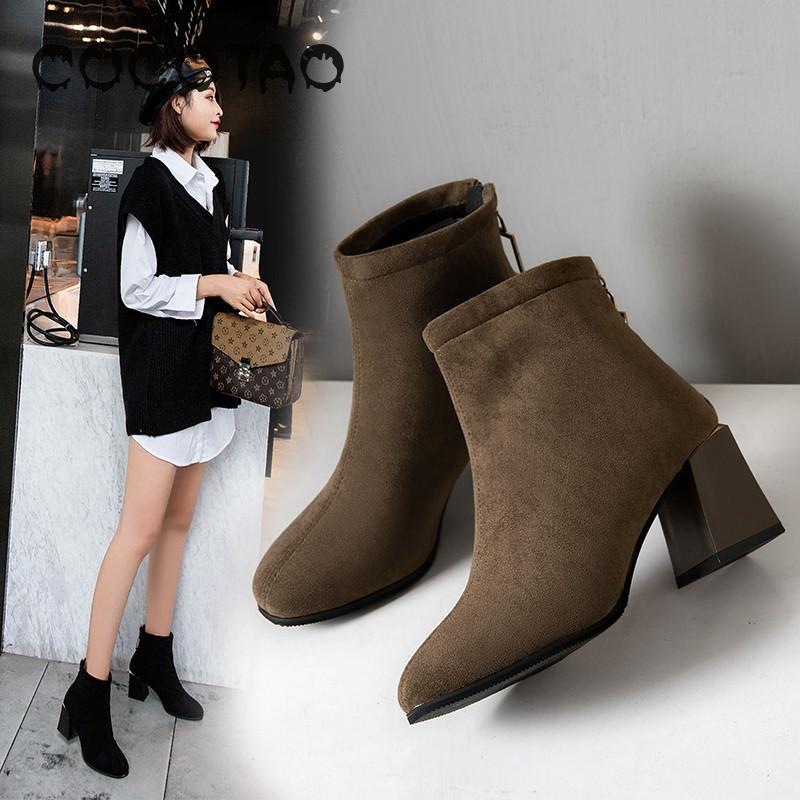 Female Thick With Short Boots In Winter 2019 New Joker Female Boots With High Heels And Velvet Winter Fashion Ladies Boots36 in Ankle Boots from Shoes