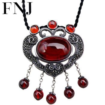 FNJ 925 Silver Tassel Pendant for Jewelry Making Original Pure S925 Sterling Silver Pendants Women Garnet Red Stone MARCASITE