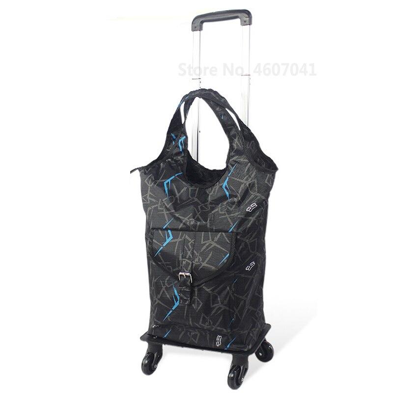 Съемная сумка-тележка для шоппинга, телескопическая складная корзина для покупок, сумка на колесиках из алюминиевого сплава, универсальная Тележка для покупок - Цвет: color2