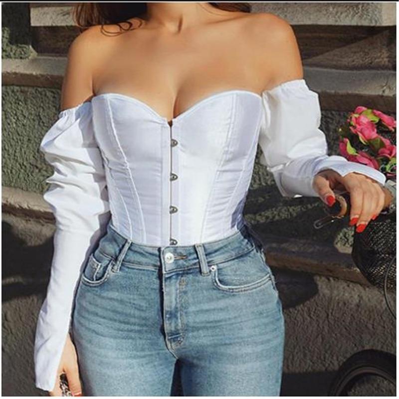 Women Sexy Off Shoulder Shirt  Blouse Lady Girls Fashion Back Bandage Slim Bustier Female Leotard Corset Ladies' Solid Tops Wear
