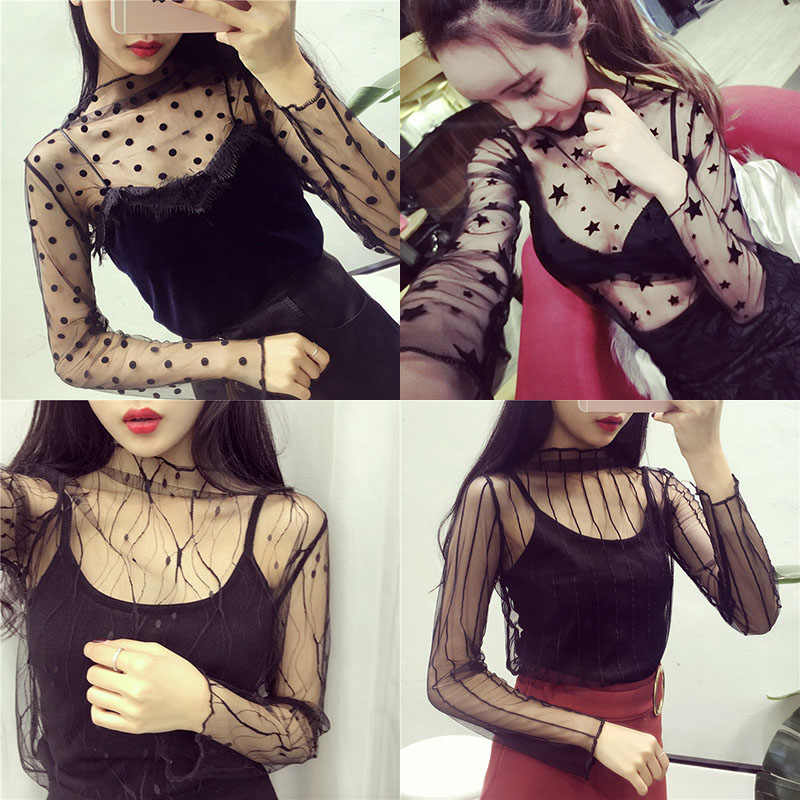 Women Sexy Mesh Tops 2019 Fashion Ladies Party T-Shirt Stand Collar Cool Hollow Out Lace Star Dot Striped Female Net Club Tees