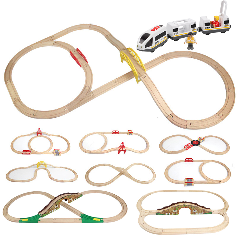 DIY Wooden Tracks Kids Train Set Toys Railway Brio Wood Puzzles Competible For Thomas Track Educational Toys For Children Gift