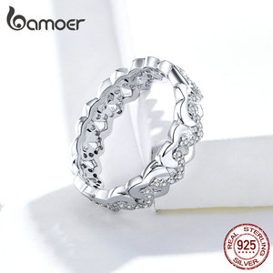 bamoer 925 Sterling Silver Heart Stackable Finger Rings for Women Jewelry Wide Vintage Clear CZ Wedding Statement Anillos SCR626