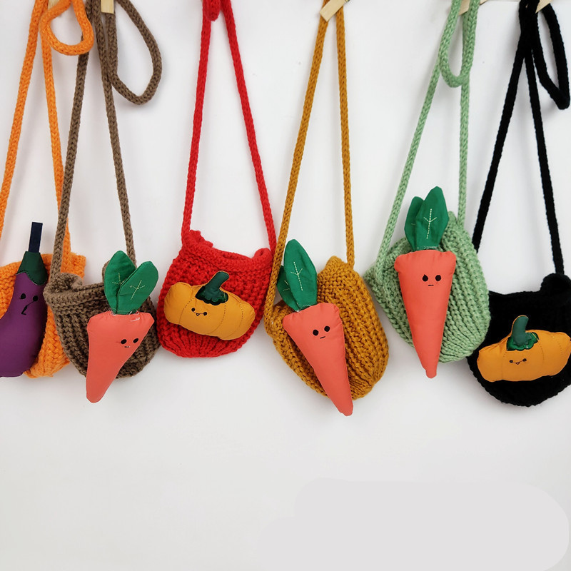 1 Piece Ginger Yellow Fruit Green  Instagram's New Girls' Stylish Knit Mini Bag Wool Coin Purse