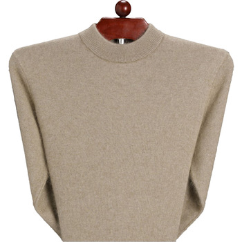 Winter Men Knitted Sweaters 95% Cashmere Male Warm & Thermal Wool Sweater Basic Solid Color Pullover Jumpers image